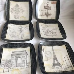 Pfaltzgraff Set Of 6 Paris Collage Appetizer Plate